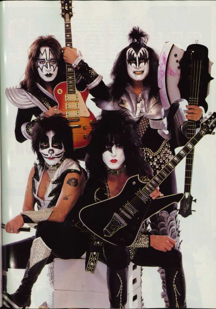 Kiss (more often styled as KISS) is an American rock band formed in New York City in January 1973. The original 1973–80 lineup consisted of Paul Stanley (vocals and rhythm guitar), Gene Simmons (vocals and bass guitar), Ace Frehley (lead guitar and vocals) and Peter Criss (drums and vocals).