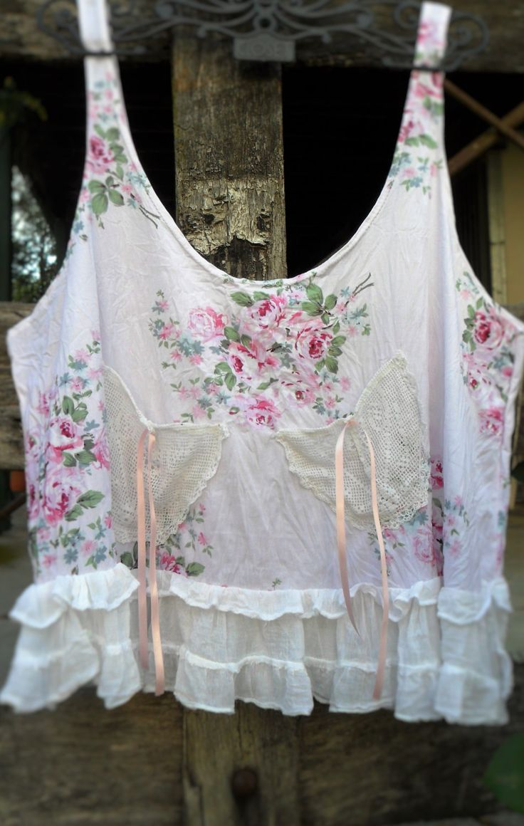 "Vintage shabby chic style cotton prairie ""over"" top by pinkdiamonds on Etsy"