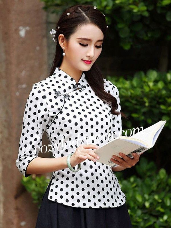 Dot-Print Modern Qipao / Tang Top