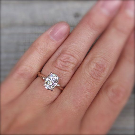 Oval Moissanite Twig Engagement Ring Rose White by kristincoffin