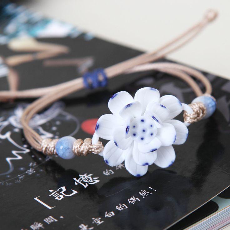 Ceramic Bracelet Vintage Jingdezhen Bangles Flower Pure Manual Weaving Lotus Adjustable Rope Girls Gift