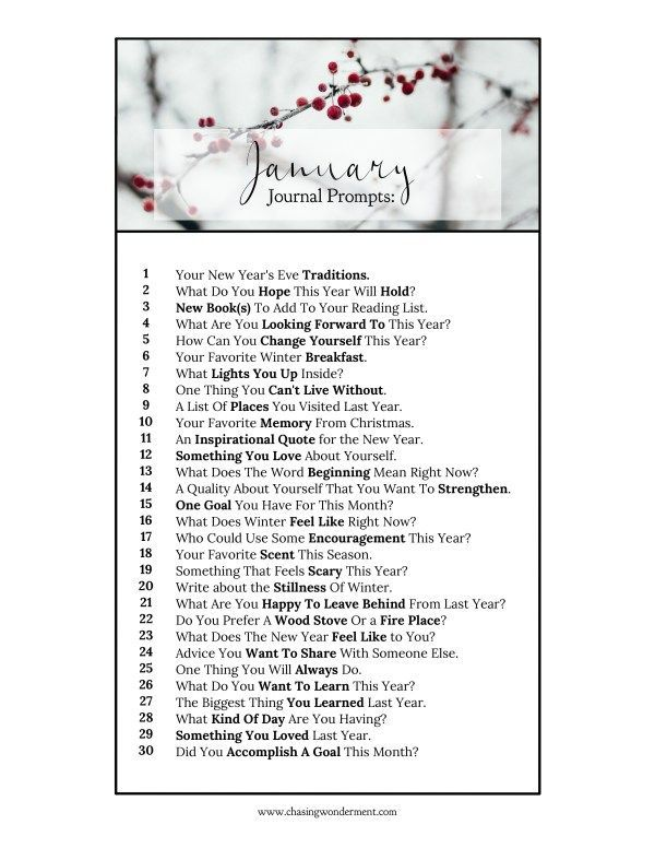 January Journal Prompts - Daily prompts to encourage a habit of writing daily.