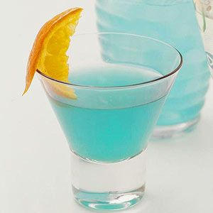 Blue Hawaii Martini Blue curaao adds an orange flavor and tropical blue hue to this special cocktail recipe.