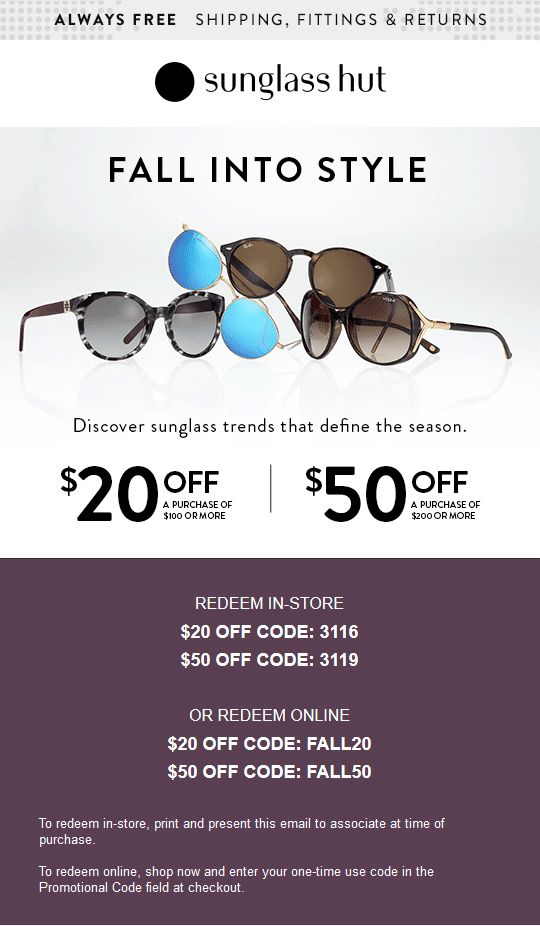 8c8c5f6a84 Pinned September 26th   20 off  100   more at Sunglass  Hut or online via  promo code FALL20  coupon via The  Coupons App