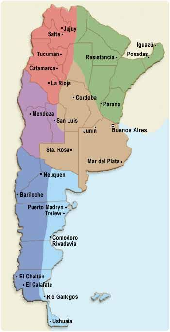 Map of Argentina. Major cities include Buenos Aires, San Luis and Santa Rosa. *Map of the country with major cities.*