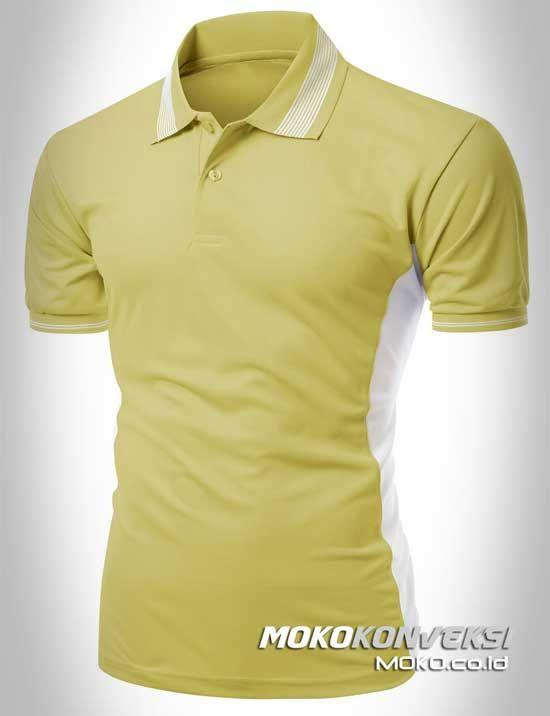 Polo Shirt Custom - KONVEKSI SEMARANG MOKO. Model Kaos Kerah Pria Wanita Warna Golden & Putih.