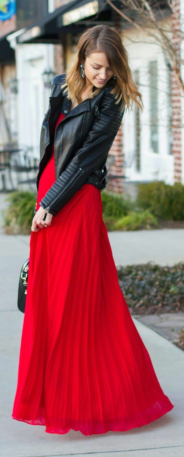Valentines Day Outfit Ideas | Pleated Maxi Dress in Red and Black Moto | Daily New Fashions