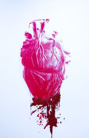 """""""Bleeding Heart""""  Glitter & Screen Print .. Size: 70 x 50 cm. http://traffordparsons.com/products-page/all/bleeding-heart-pop-surrealism-glitter-screen-print/"""