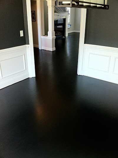 Red oak with total black stain too dark love it for True hardwood flooring
