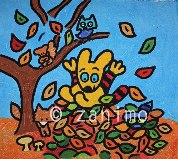 Maki falling in a pile of leaves autumn fun owl fox by Zanimo, $15.00