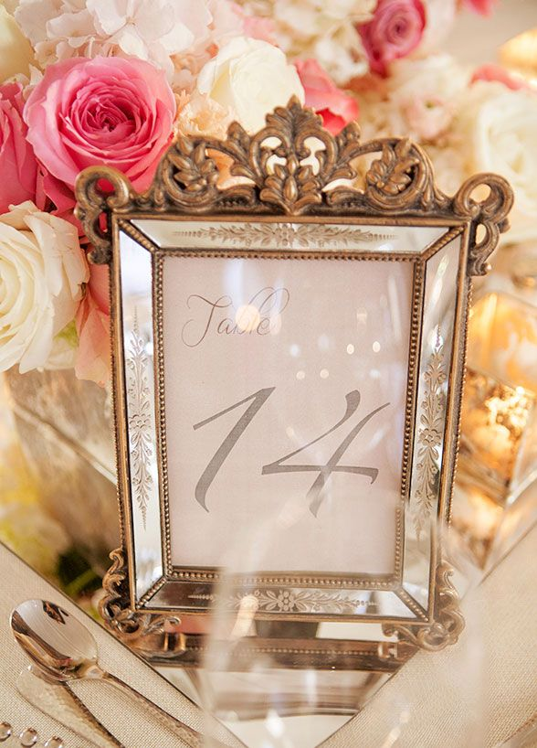 Romantic Pink & Cream Table + Number