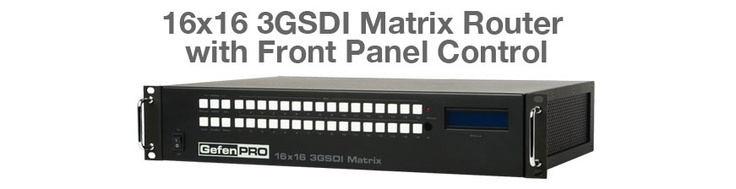 The GefenPro 16x16 3GSDI Matrix w/ Push Button Controls routes up to 16 SDI input sources to any of 16 SDI locations without losing quality or resolution.
