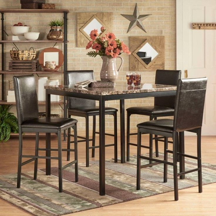 5 Piece Counter Height Table Set 4 Dining Bar Chairs Black Metal Kitchen Kit