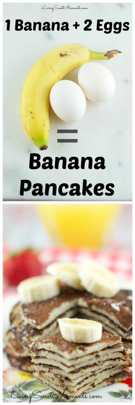 These 2 Ingredient Banana Pancakes are so easy to make! All you need is 2 eggs and a banana in a blender! They are gluten free and so delicious. More healthy breakfast recipes at livingsweetmoments.com via @Livingsmoments