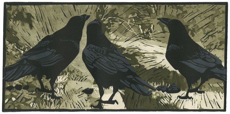 Ravens' Wood by Barbara Stikker. This is a two color reduction linocut print over an aquatint etching. The impressionistic landscape was printed first, using an etched zinc plate. Then a linoleum plate with the three ravens was cut and printed over the background using a charcoal gray ink. Finally, the linoleum plate was carved a second time (or