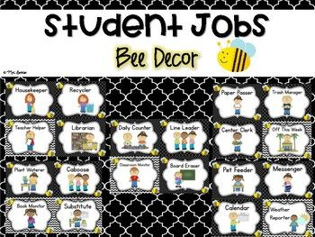 Teach your students responsibility by assigning them student jobs! This resource is a great bulletin board display for student jobs. It will coordinate perfectly with a bumble bee theme. Cut out the jobs cards, laminate, and put the on a bulletin board.