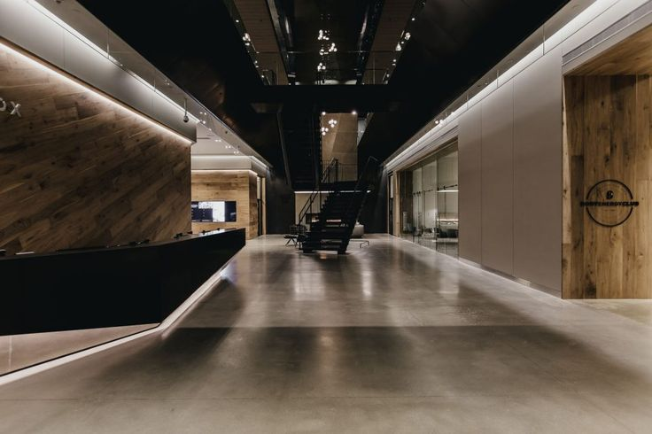 Polished concrete floors in the lobby
