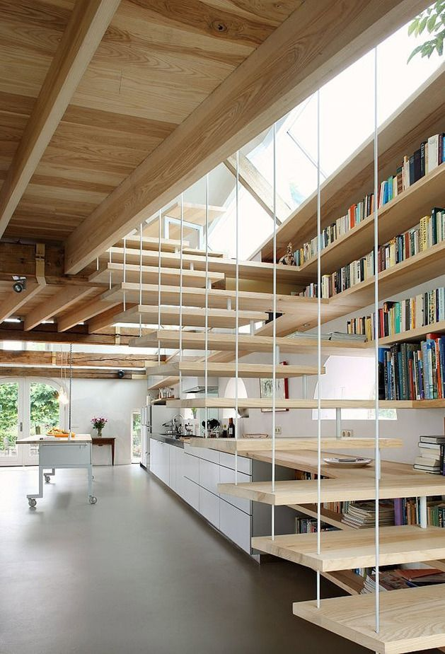Netherland barn converted to home #bookshelves #stairs