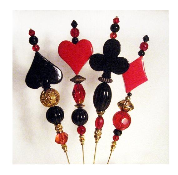 Alice in Wonderland Red Queen Hat Pins Steampunk Neo-Victorian. $7.50, via Etsy.
