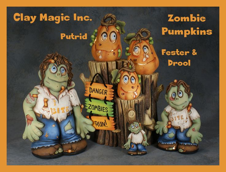 Zombies Attack!  New Ceramic Molds from Clay Magic Inc., will find and paint these by Halloween 2013!! Too Cute Zombies!