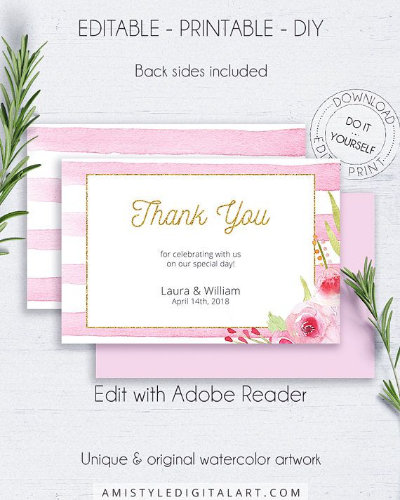 Gold glitter wedding thank you card - with nice and romantic watercolor roses on pink striped and gold glitter background, for the lovers of the bohemian and shabby chic styles.This watercolor thank you card template is for an instant download EDITABLE PDF so you can download it right away, DIY edit and print it at home or at your local copy shop by Amistyle Digital Art on Etsy