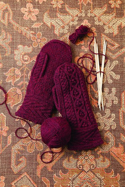 Knit Red Mittens by Brooklyn Tweed. Claret wine color is so pretty for winter.