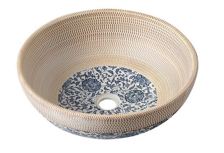 Waschschale Hand-Waschbecken rund Keramik Waschtisch PRIORI beige mit blauem Blumen-Motiv