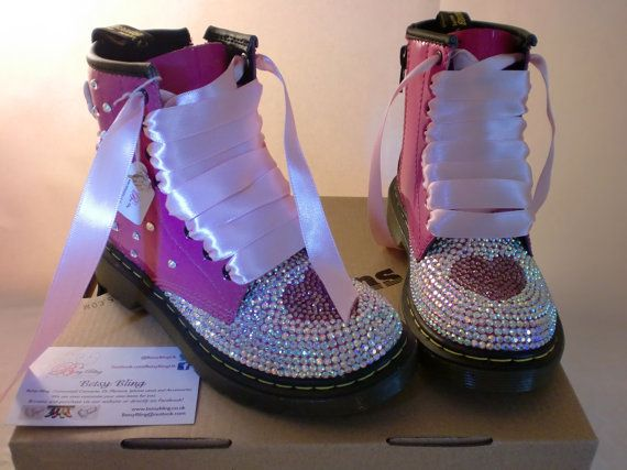 Childrens Hot Pink Crystal Dr Martens 'I love butterflies' themed Free Uk Delivery