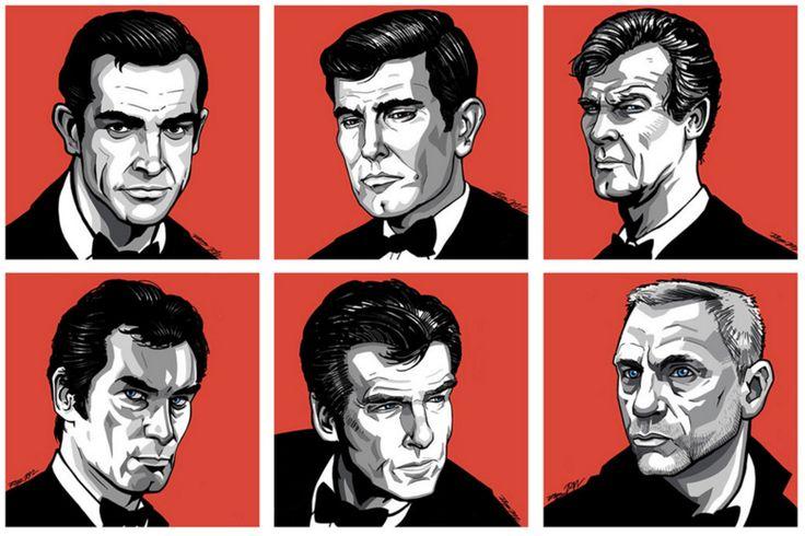 James Bond 007 et ses interprètes au cinéma : George Lazenby, Sean Connery, Roger Moore, Daniel Craig, Timothy Dalton et Pierce Brosnan.