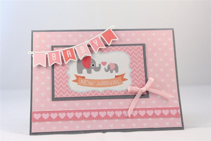 'New Arrival' Card for girl. Made by Helen of Helen's Card Designs using Kaisercraft 'Little One' collection + Stampin'Up + Basic Grey. ~ Wendy Schultz ~ Baby Cards.
