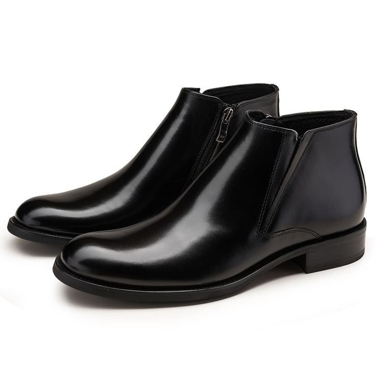 Large size EUR45 Black / brown warm wool lining winter mens ankle boots genuine leather dress shoes mens safety shoes