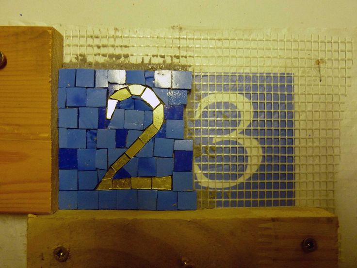 mixed smalti/gold number 23 (smalti piastrina background + gold number. - work in progress