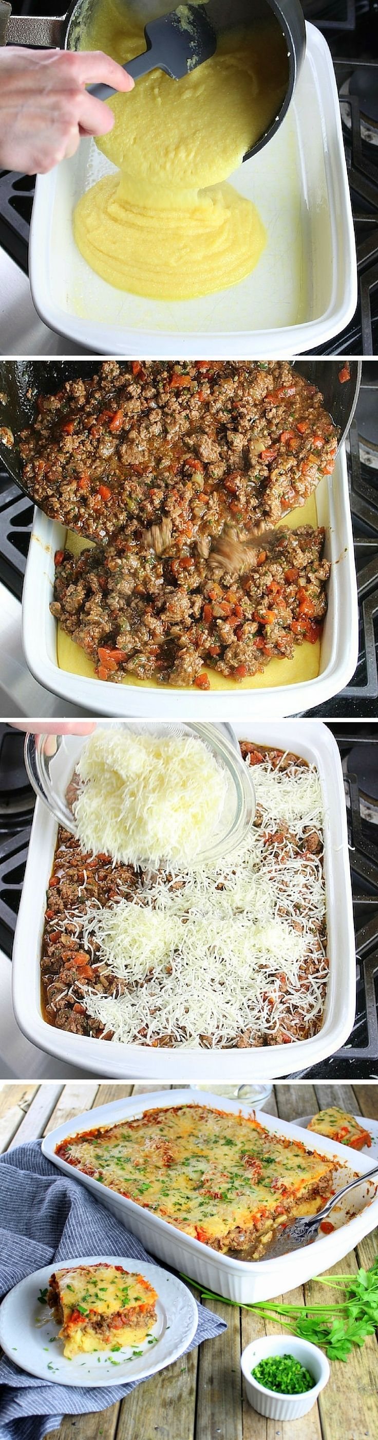 Lamb Lasagna With Parmesan Polenta.  Ground lamb, tomatoes, garlic, & onion... Polenta replaces the lasagna noodles, making it easy, gluten-free, & delicious!  http://tasteandsee.com