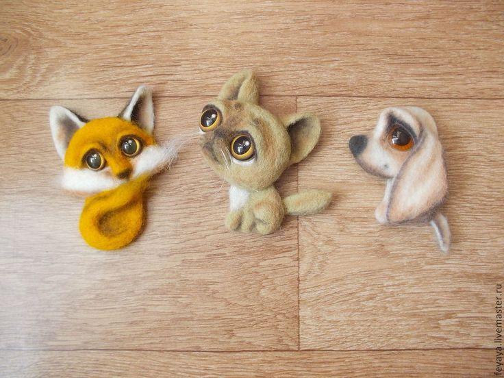 Needle Felted Fox, Cat and Dog Kitchen Magnets by Olga Zakrevskaya a/k/a Feyaya on livemaster.ru