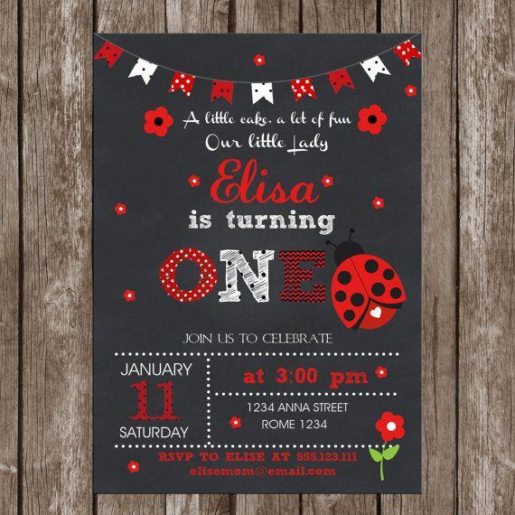 Ladybug Invitation Birthday Printable Chalkboard by LovelyDesings