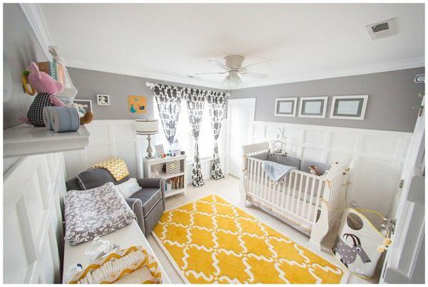 quarto de bebê cinza e mostarda com tapete incrível para meninos