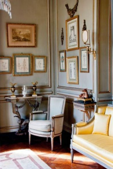 Chateau de Groussay, Italianate House near Chantilly, France. World of Interiors Sept 2011 ............................... yellow settee
