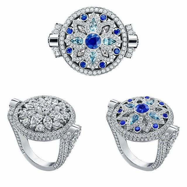 Anillo reversible de la firma Harry Winston con un motivo starburst. Con una rotación suave, pasa de una mezcla de diamantes de diferentes tallas (brillante, pera y marquise) a una sinfonía de zafiros diamantes y aguamarinas. #harrywinston #starburst #ring #anillo #gold #oro #finejewelry #finejewellery #altajoyeria #diamond #diamonds #diamante #diamantes #fashion #sapphire #zafiro #ruby #rubi #esmeralda #emerald