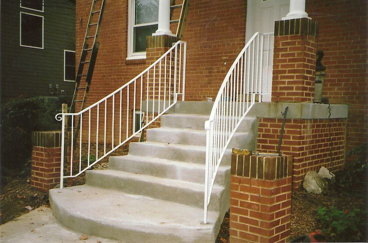 15 best railings images on pinterest stairs wrought for Concrete patio railing