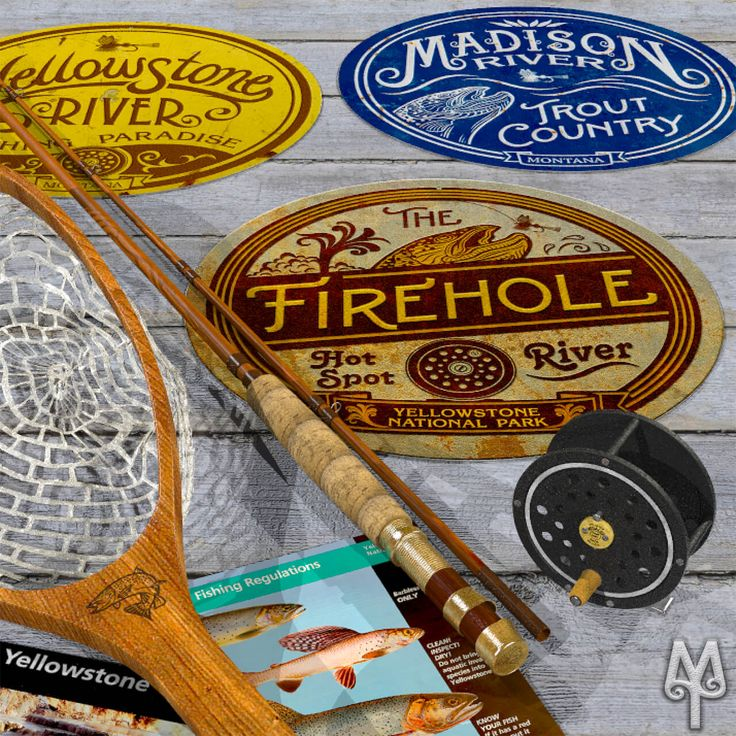 Yellowstone National Park, Fly Fishing Wall Signs by Montana Treasures...Hang a trophy of your fly fishing trip in Yellowstone National Park in your man cave or cabin. Buy one today! :)