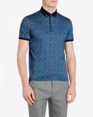 Floral printed polo shirt