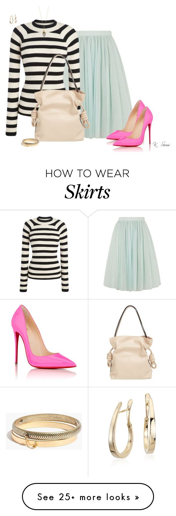 """Style a tulle skirt"" by ksims-1 on Polyvore featuring Ted Baker, Christian Louboutin, Loewe, Blue Nile and Madewell"