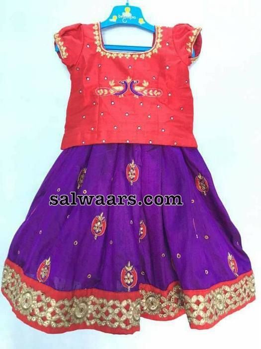Purple Red Thread Work Kids Lehenga