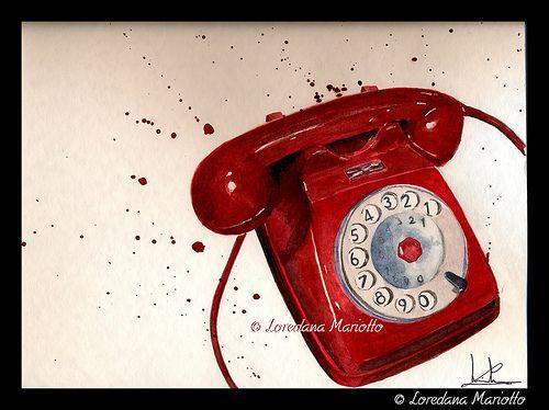 Pretty in red! Carino in rosso!  Watercolor by loredanamariotto.com