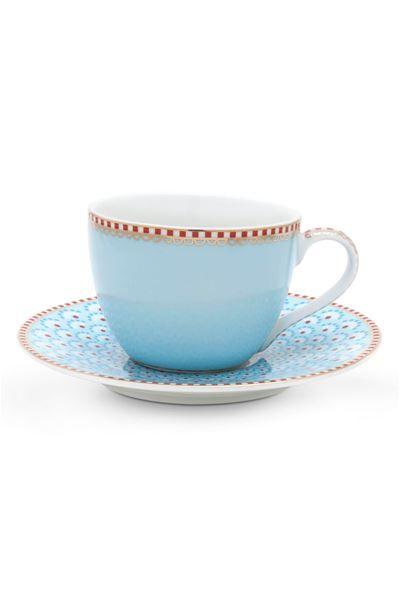 Toon details van Floral set/4 espresso kop en schotel Bloomingtales Blauw