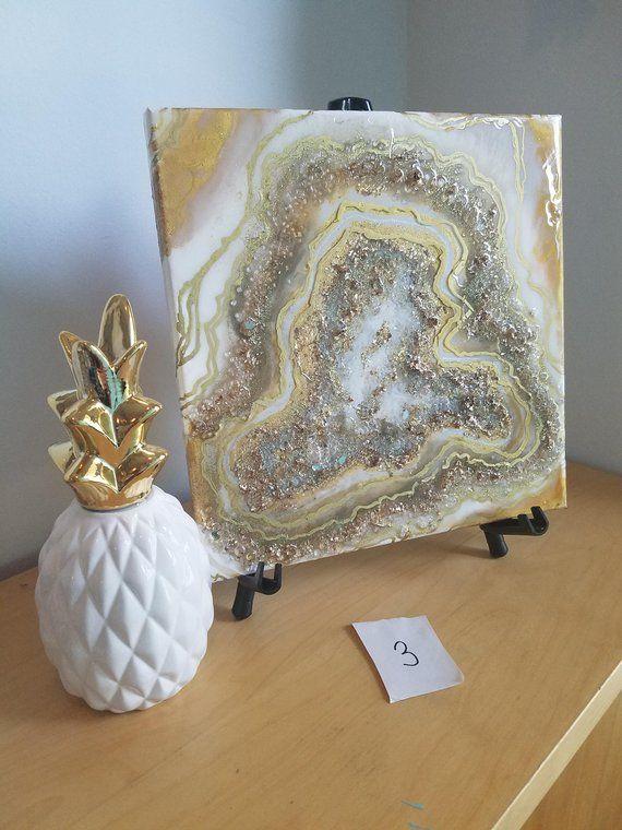 Golden Geode Collection Original Mixed Media Resin Art