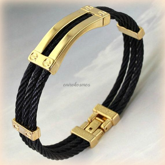 Stainless Steel Gold with Black Wire Three Twisted by Onirokosmos