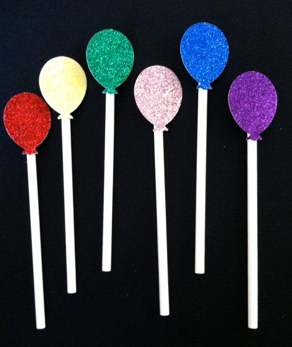 12 Glitter Balloon Cupcake Toppers For by LoveleighDetails on Etsy