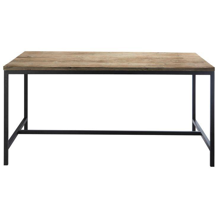 Mesa de comedor industrial de madera maciza y metal An. 150 cm Long Island