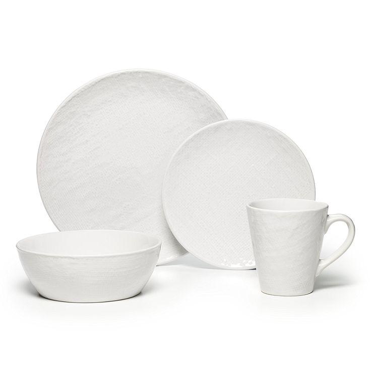 Amazon.com | Pfaltzgraff Landen 16 Piece Textured Stoneware Dinnerware Set, White: Dinnerware Sets